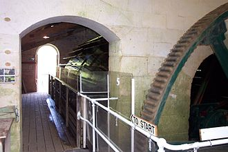 Claverton Pumping Station - The interior, showing waterwheel and gearing