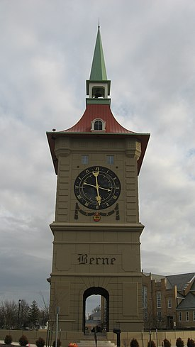 Clock tower in Berne, Indiana.jpg