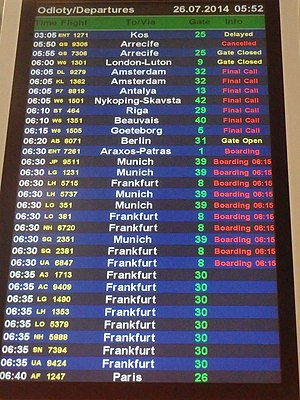 Codeshare agreement - An information display showing code-shared flights (indicated by multiple flight numbers at identical times and gate numbers), at Warsaw Chopin Airport.