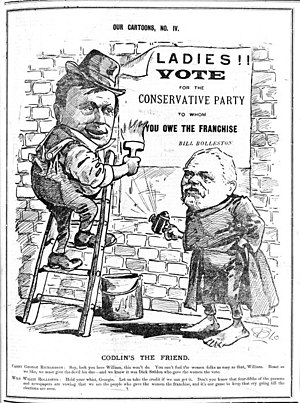 "New Zealand general election, 1893 - A cartoon depicting William Rolleston urging women to vote for the Conservative Party to whom they ""owe the franchise""."