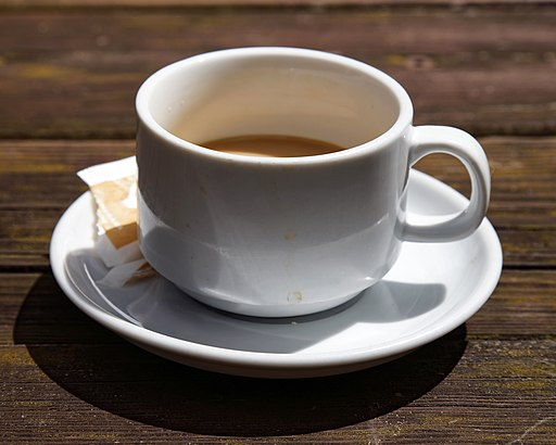 Coffee cup and saucer Newgate Street Hatfield Hertfordshire England