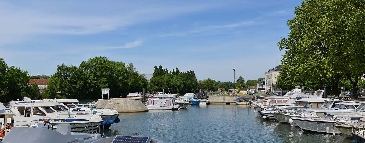 View of the marina on the river Charente, Cognac, Charente, France.
