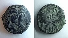 Münze von Aretas IV und Shaqilath