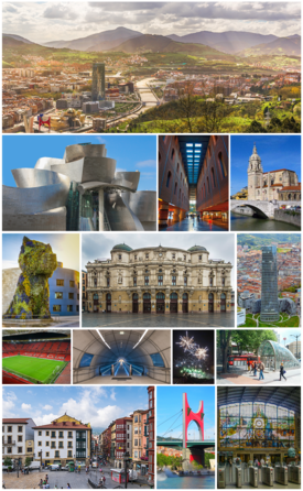 From upper left: panoramic, Guggenheim Museum, Azkuna Zentroa, Church of San Antón, Puppy, Arriaga Theater, Iberdrola Tower, San Mamés Stadium, Uribarri station of Metro Bilbao, fireworks in the Aste Nagusia, fosterito, Miguel de Unamuno Square in the Casco Viejo, La Salve and Bilbao-Abando railway station.