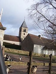 The church and surroundings in Collonge-en-Charollais