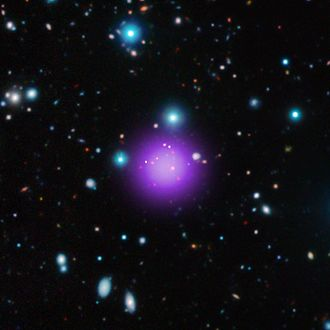 CL J1001+0220 - Image: Composite X Ray Radio and Infrared of galaxy cluster CL J1001+0220