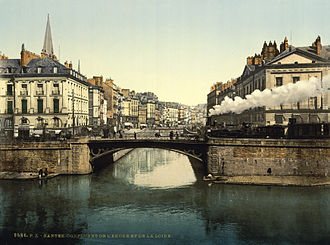 Nantes - The confluence of the Erdre and the Loire (where Nantes was founded) in an 1890s photochrom. The river channels in the picture were diverted and filled in during the 1920s and subsequently replaced with roads.