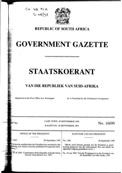File:Constitution of the Republic of South Africa Second Amendment Act 1995 from Government Gazette.djvu