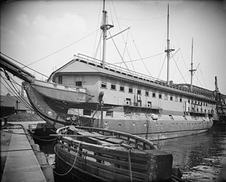 Barracks ship - USS Constitution as a barracks ship in Boston c. 1905