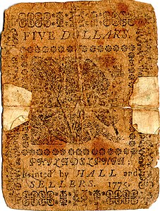 Continental Currency $5 banknote reverse (November 29, 1775).jpg
