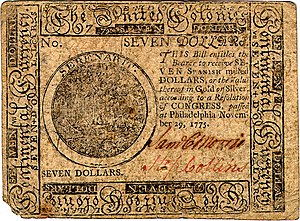 Continental Currency $7 banknote obverse (November 29, 1775).jpg