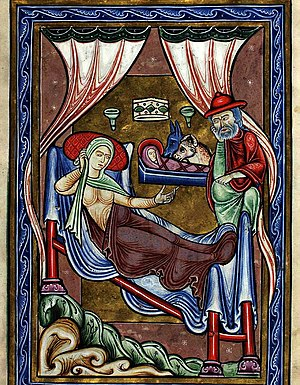 Copenhagen Psalter - Illumination depicting the Nativity of Jesus from the Copenhagen Psalter