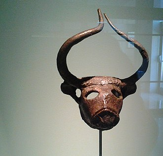 Dilmun - Bull's head, made of copper in the early period of Dilmun (ca. 2000 BC), discovered by Danish archeologists under Barbar Temple, Bahrain.