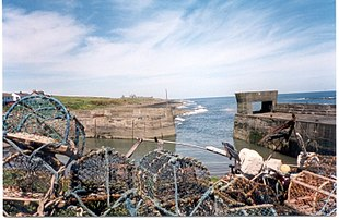 """View of Craster Harbour with <a href=""""http://search.lycos.com/web/?_z=0&q=%22lobster%20pot%22"""">lobster pot</a>s in the foreground and <a href=""""http://search.lycos.com/web/?_z=0&q=%22Dunstanburgh%22"""">Dunstanburgh</a> in the distance"""