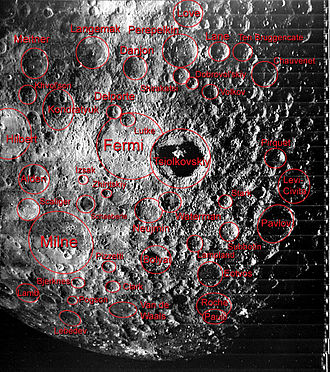 Far side of the Moon - Some of the features of the geography of the far side of the Moon are labeled in this image