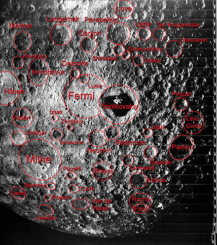 Some of the features of the geography of the far side of the Moon are labeled in this image Craters of the Far Side of the Moon.jpg