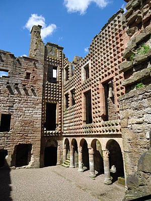 Crichton Castle - The north west corner of the courtyard.