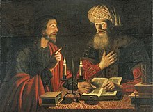 Jesus (left, in profile, pointing with his right hand) and Nicodemus (facing the viewer, with a turban, with his right hand on his heart) sit at a table, arguing over books