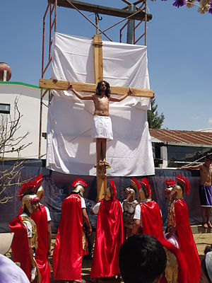 Passion Play - Reenactment of the crucifixion of Jesus in Texcoco, Mexico