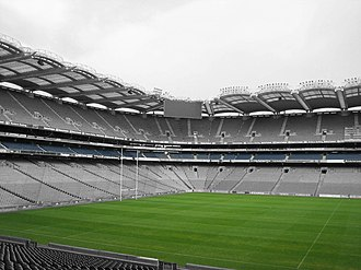 Gaelic Athletic Association - Croke Park sports stadium in Dublin, Ireland. The pitch is used for Gaelic football, hurling, and camogie, and has also been used in the past for association football and rugby. It has a capacity of 82,300 people, making it the third largest stadium in Europe.