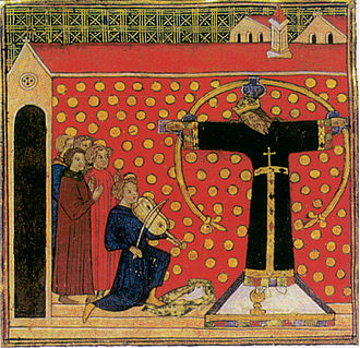 Holy Face of Lucca - The legend of the fiddler in a Parisian miniature of 1400-20