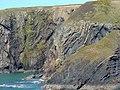 Crumpled mudstone strata, Ceibwr - geograph.org.uk - 1803711.jpg