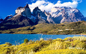 View of Cuernos del Paine from Pehoé Lake, Chile