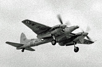 De Havilland Hornet - Sea Hornet NF.21 of the Airwork FRU displayed at RNAS Stretton in 1955. The radar thimble nose of this variant is evident