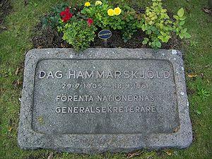 1961 Ndola United Nations DC-6 crash - Hammarskjöld's grave in Uppsala