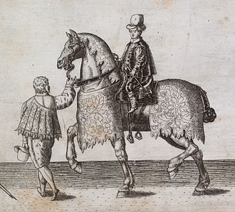 Daniel Bacheler - Daniel Bacheler (on horseback) from an engraving by Thomas Lant of the funeral procession of Sir Philip Sidney in 1586