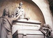The memorial tomb for Dante Alighieri at Basilica di Santa Croce in Florence.