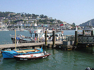 Dartmouth Harbour - Dartmouth Harbour, with Kingswear in the background, and River Dart cruise boats alongside Dartmouth Town Jetty.