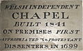 Date Plaque, 1841. Plough Lane Chapel, Lion Street, Brecon..JPG
