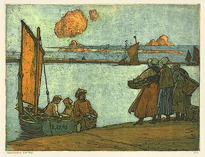 Nelson Dawson - Three fisherwomen from Étaples, 1912, coloured etching