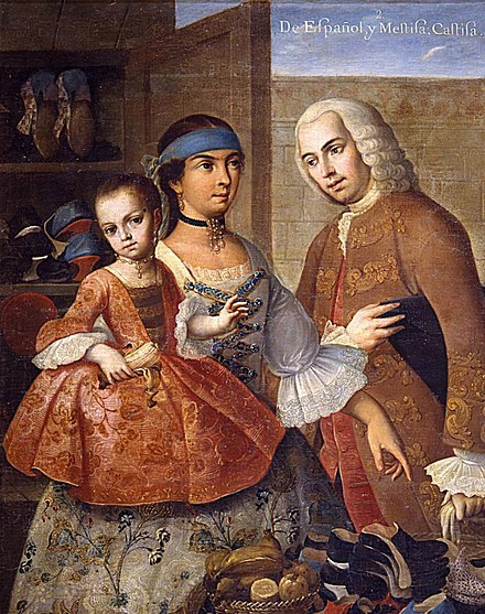 A casta painting by Miguel Cabrera, Here he shows a Spanish (espanol) father, Mestiza (mixed Spanish-Indian) mother, and their Castiza daughter. De espanol y mestiza, castiza.jpg