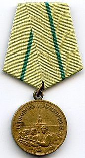 "Medal ""For the Defence of Leningrad"" military decoration of the Soviet Union"