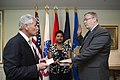Defense Secretary Chuck Hagel, left, swears in new Deputy Defense Secretary Bob Work at the Pentagon, May 5, 2014 140501-M-EV637-006b.jpg