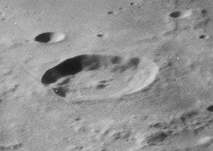 Democritus (crater) - Oblique view also from Lunar Orbiter 4
