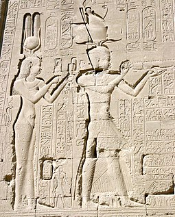 The Ptolemaic Queen Cleopatra VII and her son by Julius Caesar, Caesarion, at the Temple of Dendera. Denderah3 Cleopatra Cesarion.jpg