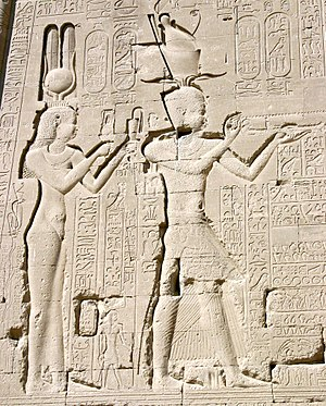 Egypt - The Ptolemaic Queen Cleopatra VII and her son by Julius Caesar, Caesarion, at the Temple of Dendera.