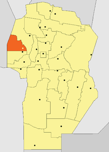 Location of Minas Department in Córdoba Province