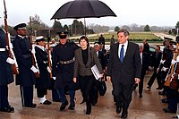 Wolfowitz with New Zealand Prime Minister Helen Clark at the Pentagon, March 26, 2002.