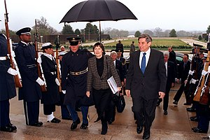 Helen Clark - With Paul Wolfowitz at the Pentagon, 26 March 2002