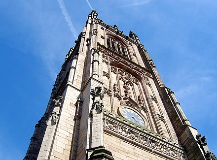 The tower of Derby Cathedral. Derby Cathedral.jpg