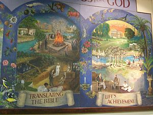 William Carey (missionary) - Detail from wall hanging depicting William Carey's life, in Carey Baptist Church, Moulton, Northamptonshire, UK
