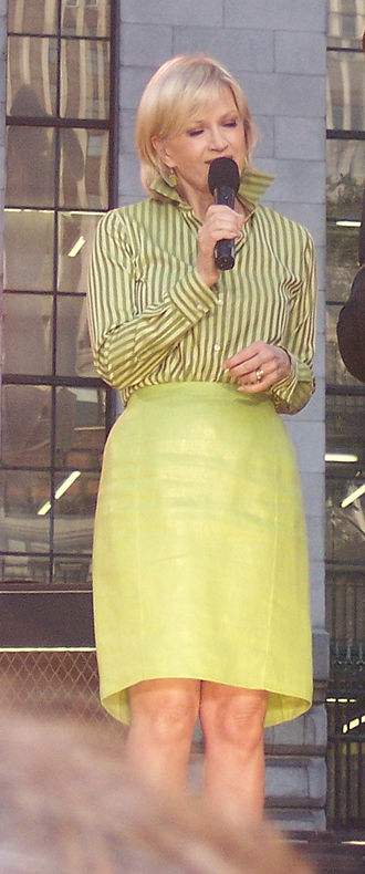Upturned collar - Diane Sawyer, former host of Good Morning America, wearing the collar up, 2004.