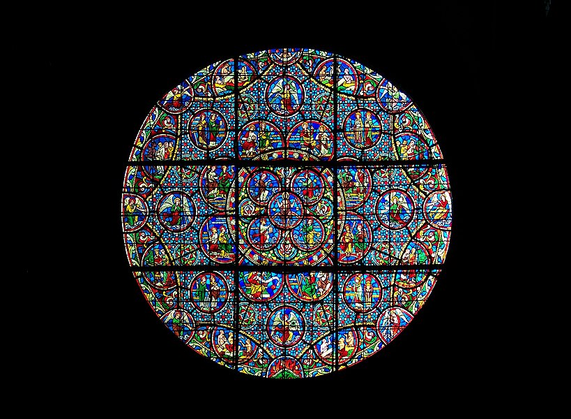 Southern rose window (figuring the Last Judgment) of the church Notre-Dame in Dijon. Realized by Édouard Didron between 1874 and 1897.