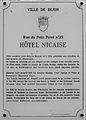 Dijon Hotel NICAISE plaque information.jpg