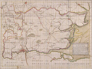Diocese of London - Map of the Diocese of London in 1714. The current diocesan boundaries are greatly reduced.
