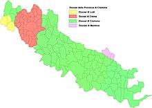 Suddivisione territoriale della Provincia per diocesi